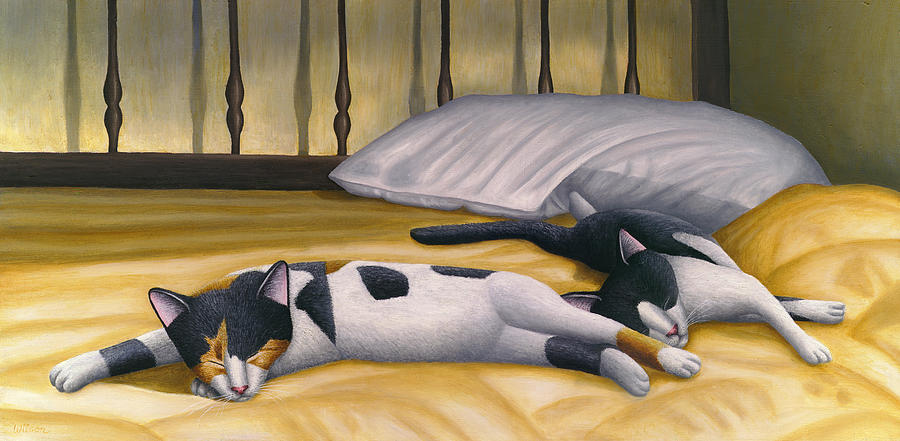 Calico Cat Painting - Cats Sleeping On Big Bed by Carol Wilson