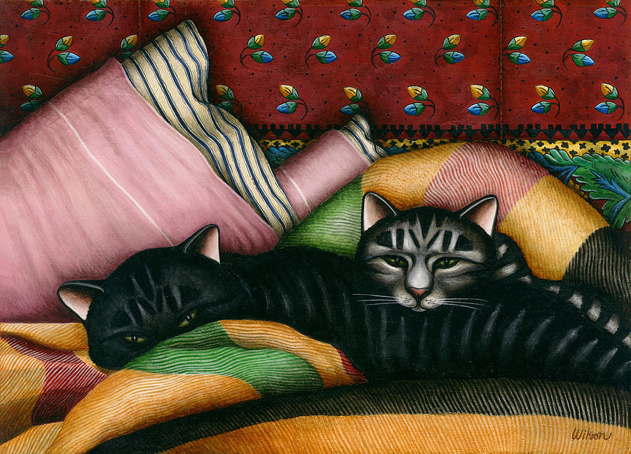 Black Cat Painting - Cats With Pillow And Blanket by Carol Wilson