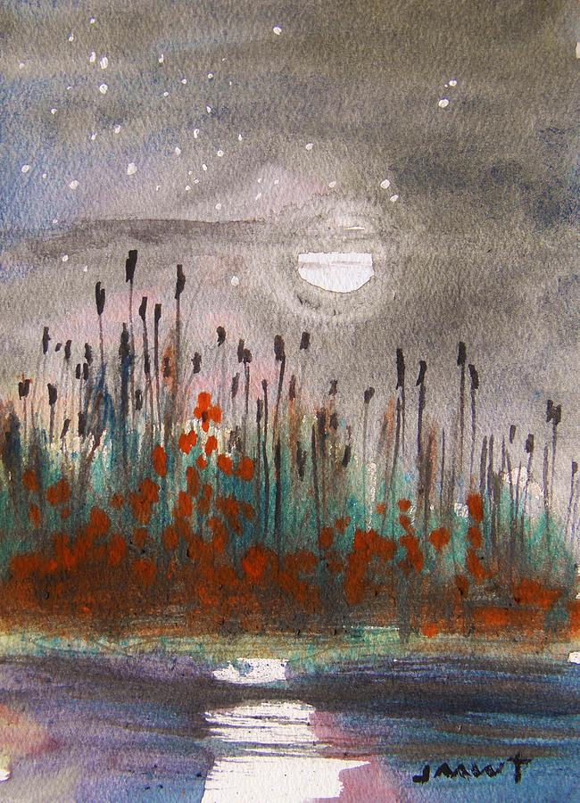 Moon Painting - Cattails And Stars by John Williams