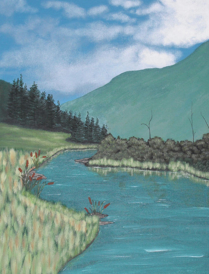 Landscape Painting - Cattails by Candace Shockley