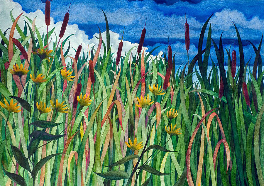 Cattails Painting - Cattails by Helen Klebesadel