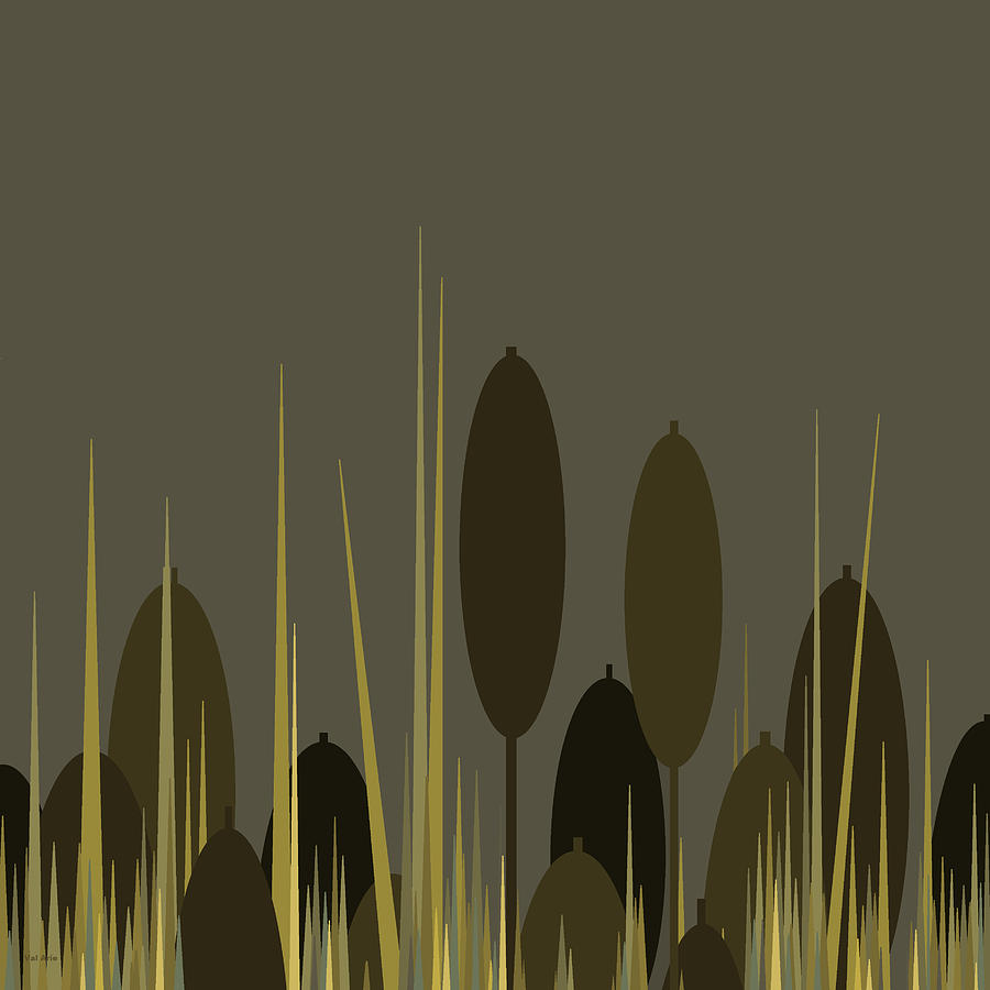 Cattails Digital Art - Cattails In The Rain by Val Arie