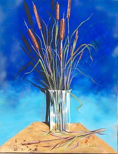 Oil Painting - Cattails by Stan  Sternbach