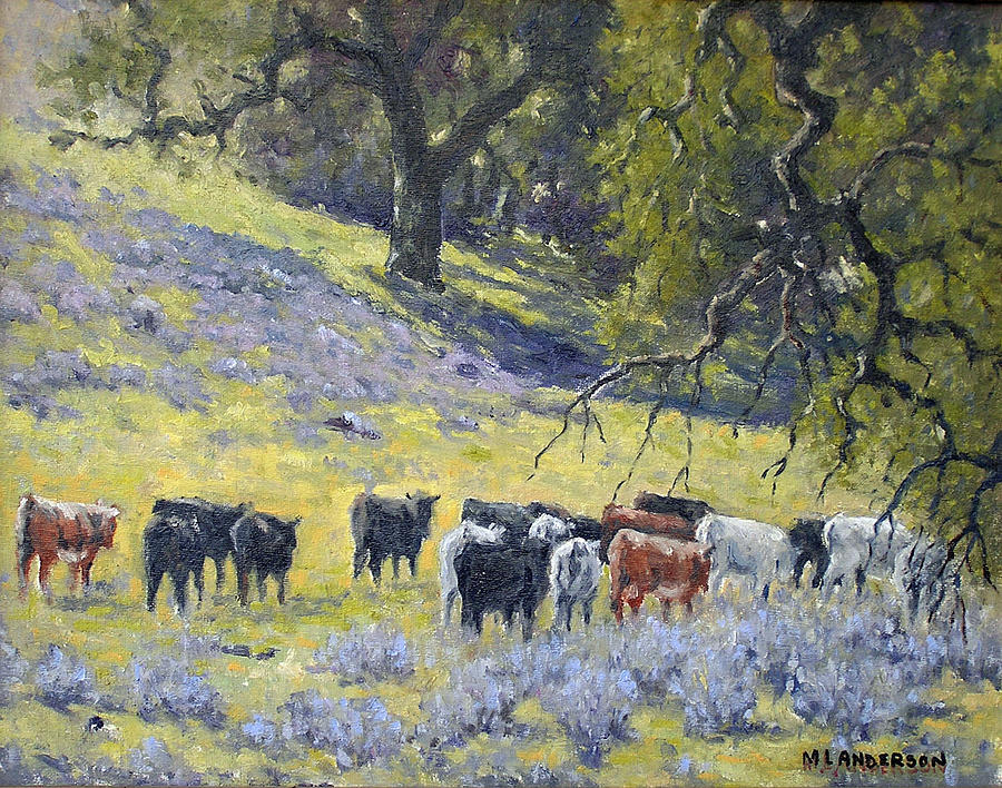 Cattle Among Oaks Painting by Marv Anderson