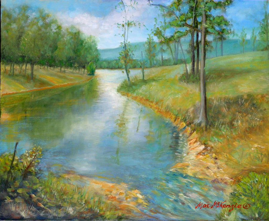 Water Painting - Cattle Cooling Pond by Max Mckenzie