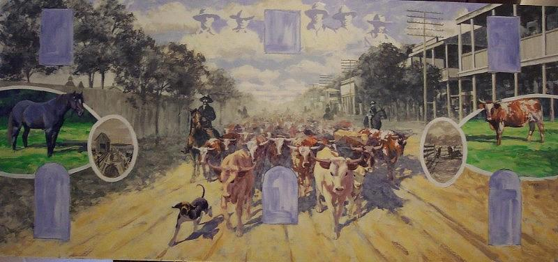 Sketch Painting - Cattle Drive Down Marion Avenue 1903 Sketch by Michael Vires