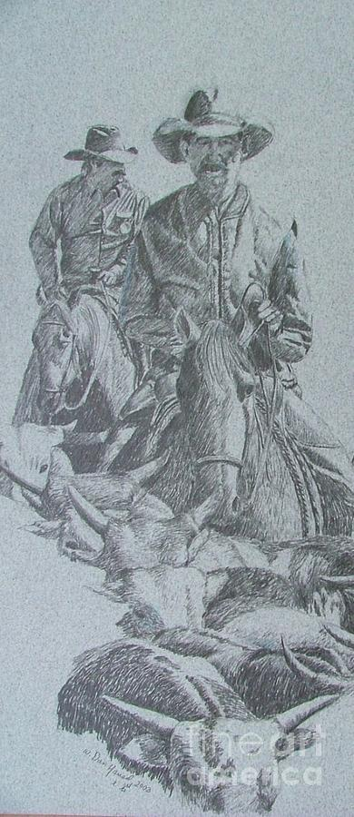 Horse Drawing - Cattledrive by Dan Hausel