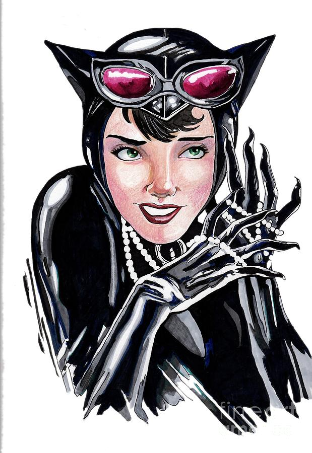 Cat Drawing - Catwoman- Markers by Bill Richards