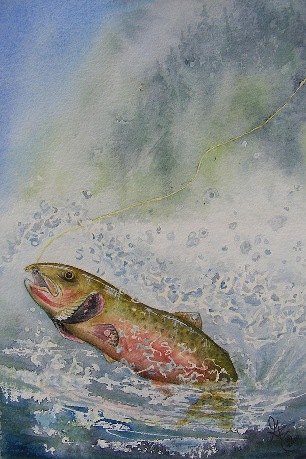 Trout Painting - Caught by Gale Cochran-Smith