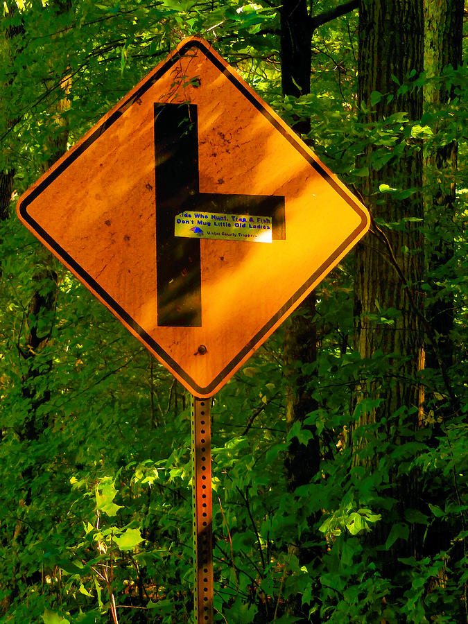 Arrow Painting - Caution T Junction Road Sign by Jeelan Clark