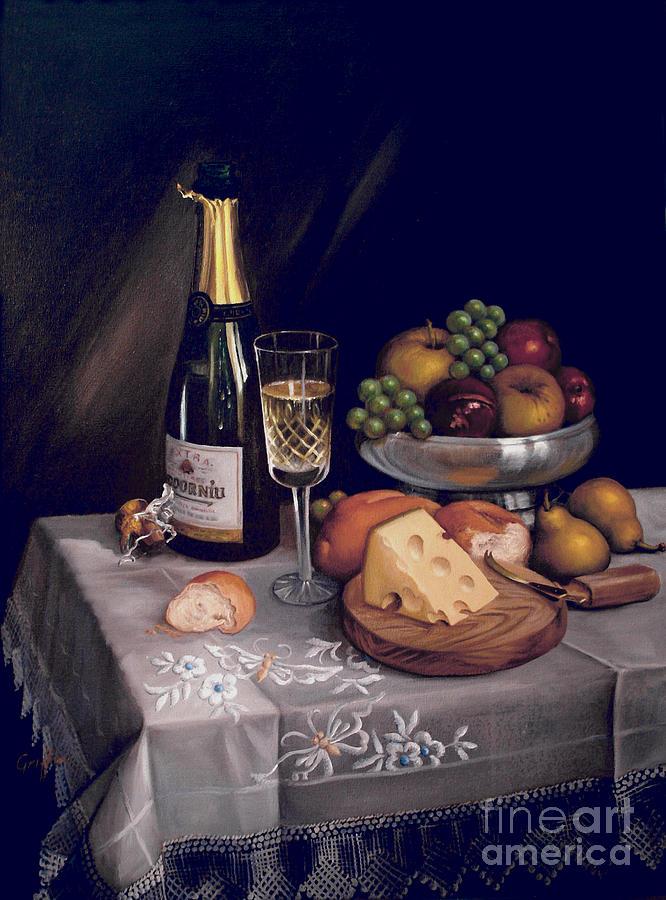 Codorniu Painting - Cava Y Queso by Mai Griffin