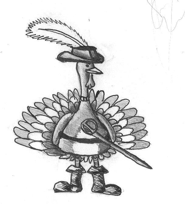 Cavalier Turkey Drawing by Katie Alfonsi
