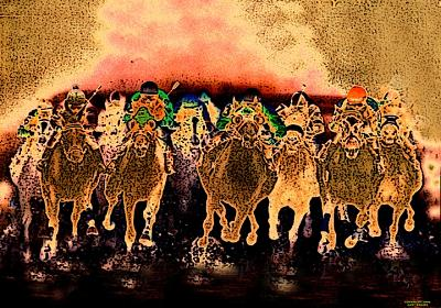Horse Racing Digital Art - Cavalry Charge by Gary Rogers