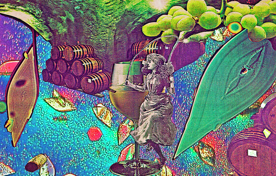 Cave dancer dances with wine by Sondra Barrett