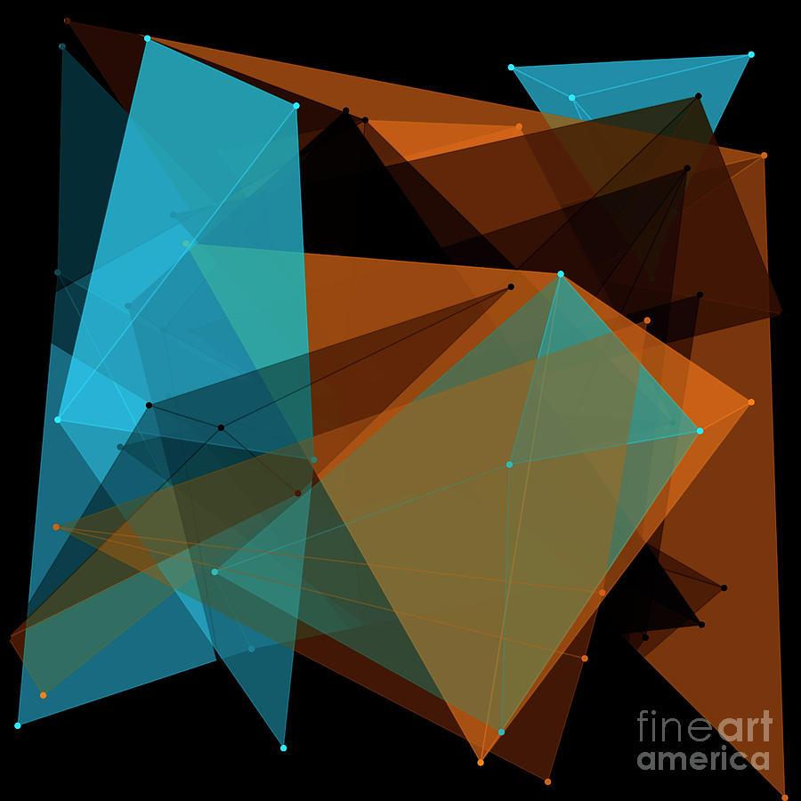 Abstract Digital Art - Cave Polygon Pattern by Frank Ramspott