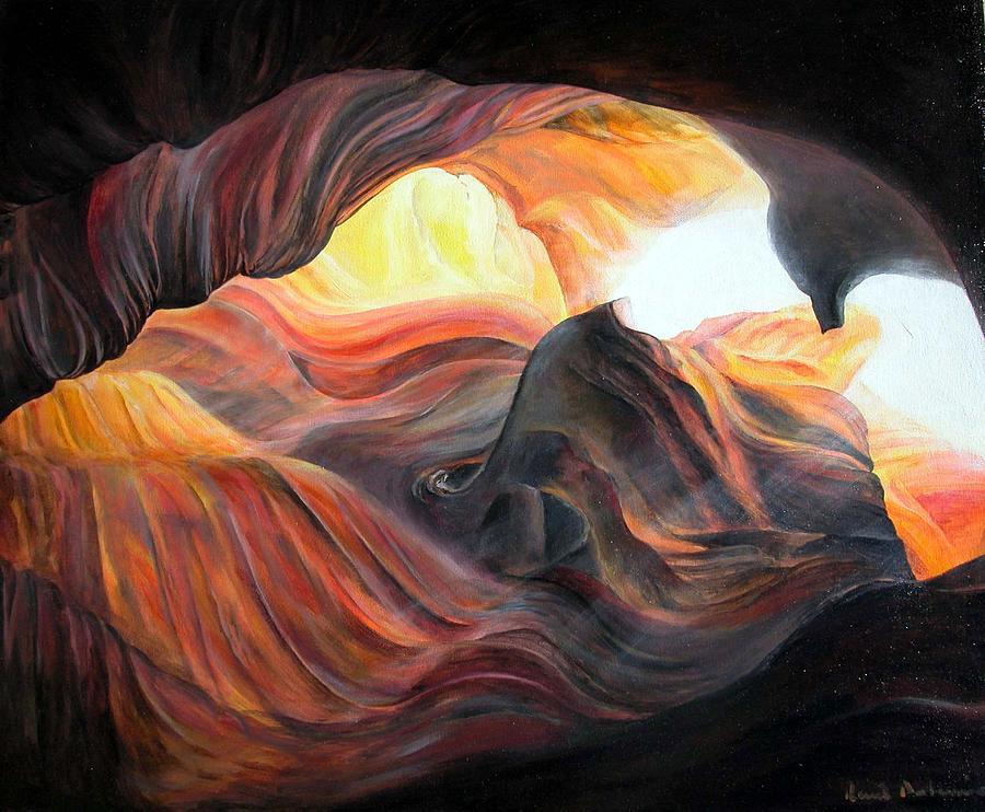 Landscape Painting - Caverne by Muriel Dolemieux