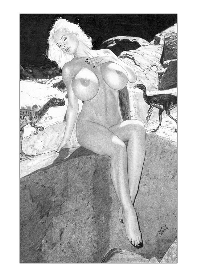 Black nude cave women Cavewoman Drawing By Tim Grayson