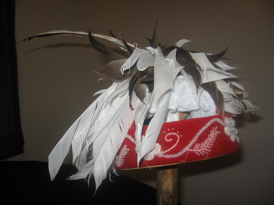 Native Tapestry - Textile - Cayuga Kustowa Headdress by Towanna Miller