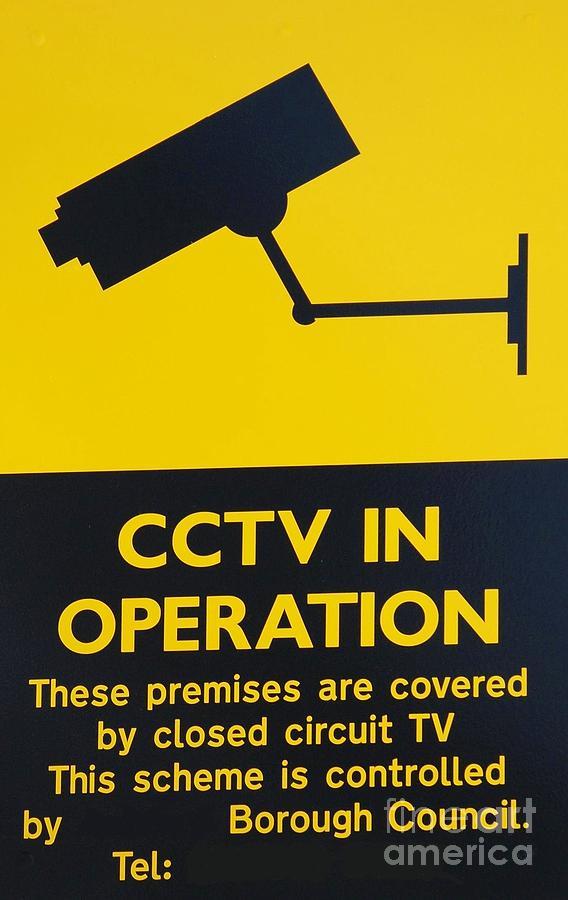 Cctv Photograph - Cctv Warning Sign by David Fowler