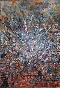 War Painting - Cease Fire Massacre by Jude Rouslin