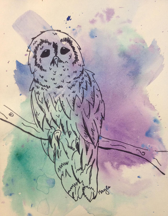 Owl Painting - Cecil The Sad Owl by Kayla Houdek