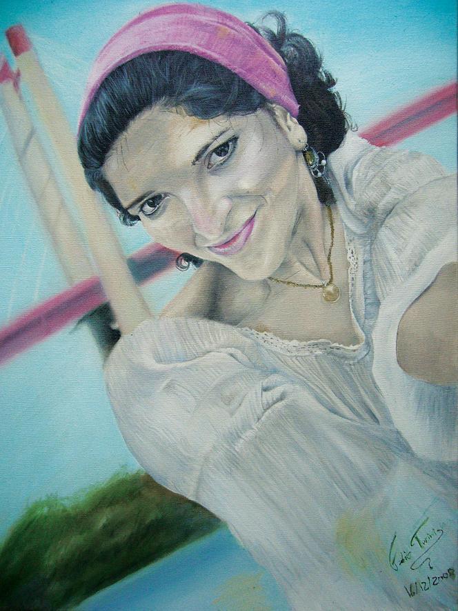 Portrait Painting - Cecilia Gutierrez by Fabio Turini