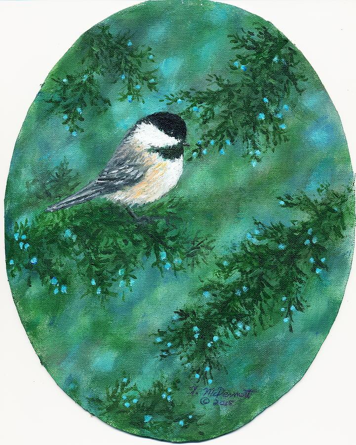 Chickadee Painting - Cedar Chickadees - Bird 1 by Kathleen McDermott