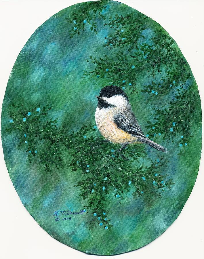 Bird Painting - Cedar Chickadees - Bird 2 by Kathleen McDermott