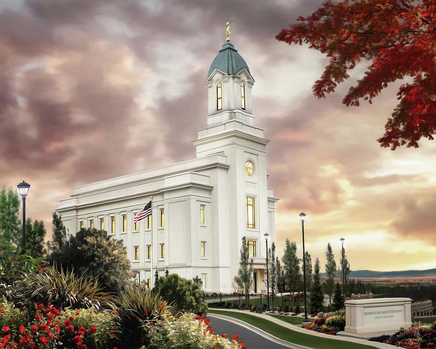 Cedar City Painting - Cedar City Temple by Brent Borup
