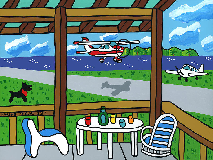 Airplane Painting - Cedar Key Airport by Mike Segal