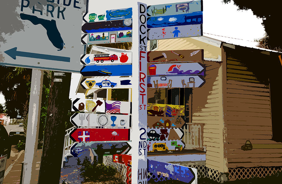 Sign Painting - Cedar Key Directional by David Lee Thompson