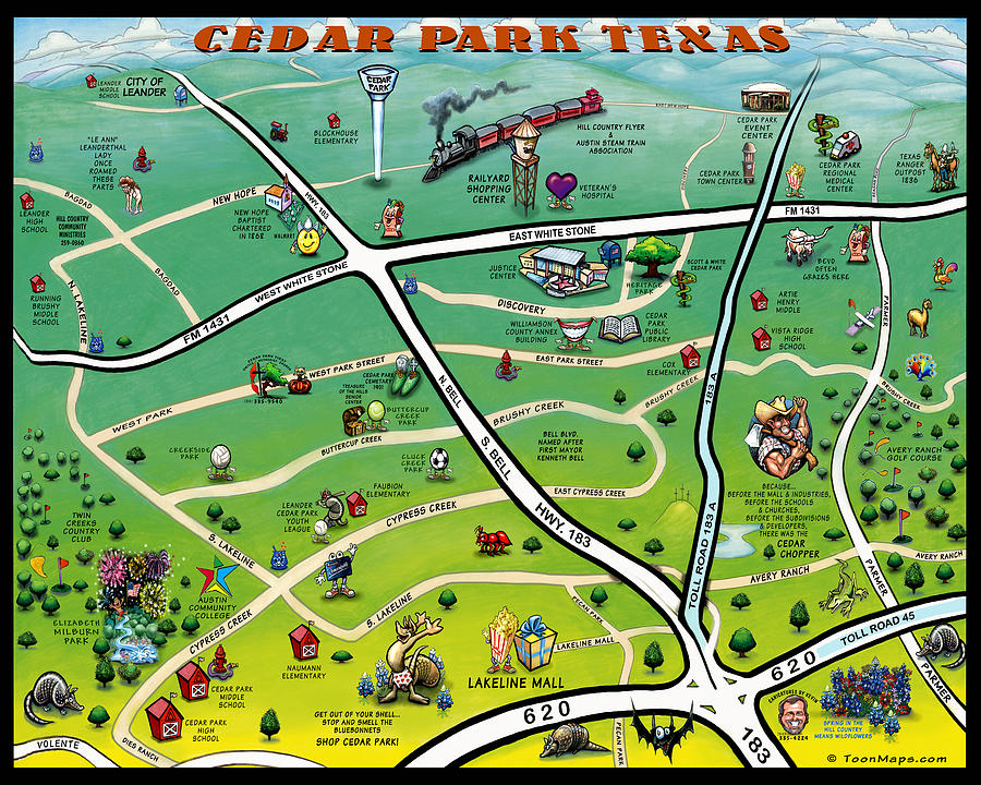 Cedar Park Digital Art - Cedar Park Texas Cartoon Map by Kevin Middleton
