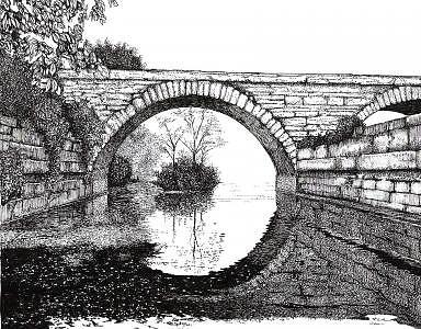 Stone Bridge Drawing - Cedar Street Bridge by John  R Harris