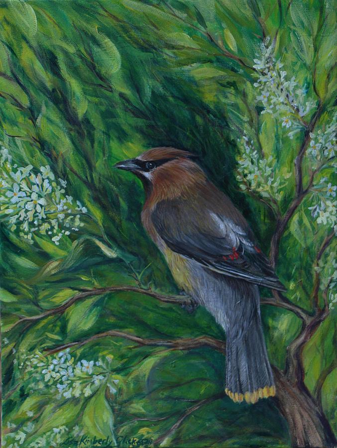 Bird Painting - Cedar Waxwing In Lilac by Lisa Kimberly Glickman