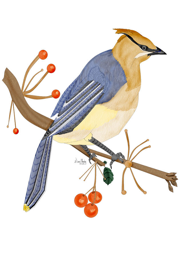 Cedar Waxwing Painting - Cedar Waxwing In The Berries by Anne Norskog