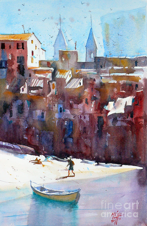 Watercolor Painting - Cefalu by Andre MEHU
