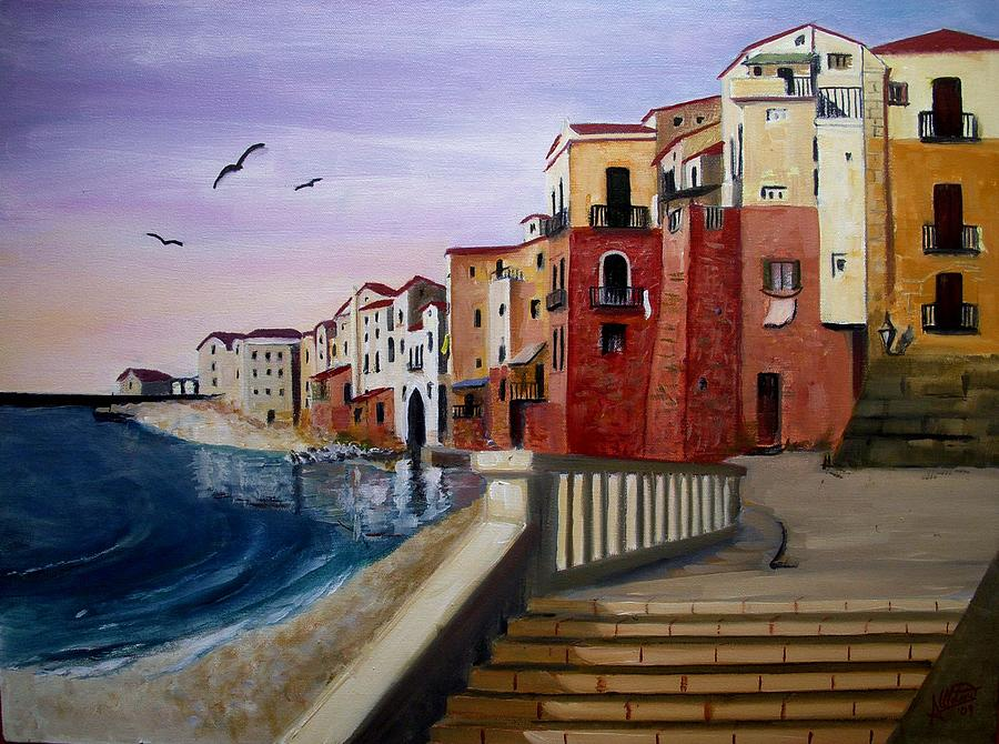 Cefalu Painting by Anthony Meton