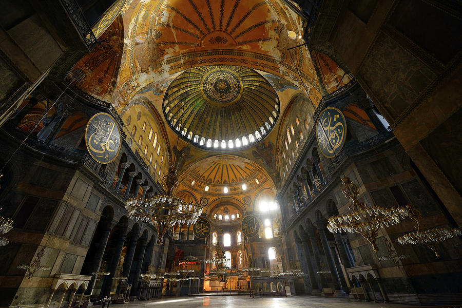 Ceiling domes in an empty hagia sophia istanbul with chandeliers morning photograph ceiling domes in an empty hagia sophia istanbul with chandeliers by reimar gaertner aloadofball Images
