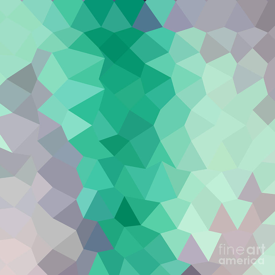 Abstract Digital Art - Celadon Green Abstract Low Polygon Background by Aloysius Patrimonio