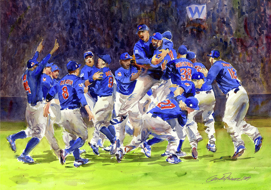 celebrate chicago cubs world series champs painting by