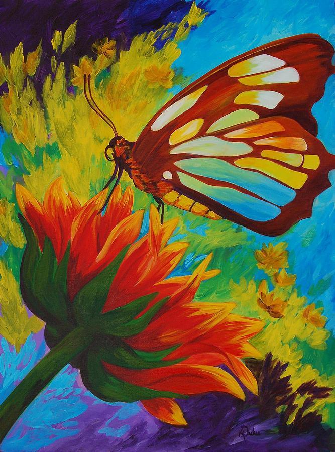 Gerbera Painting - Celebrate by Karen Dukes