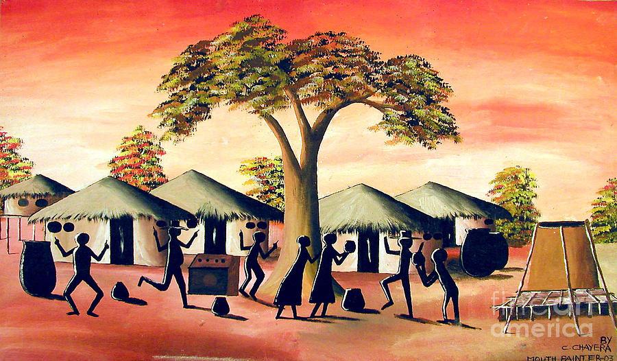 African Painting - Celebration by Chrisfold Chayera