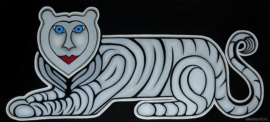 Celestial Painting - Celestial big white tiger woman by Adamantini Feng shui