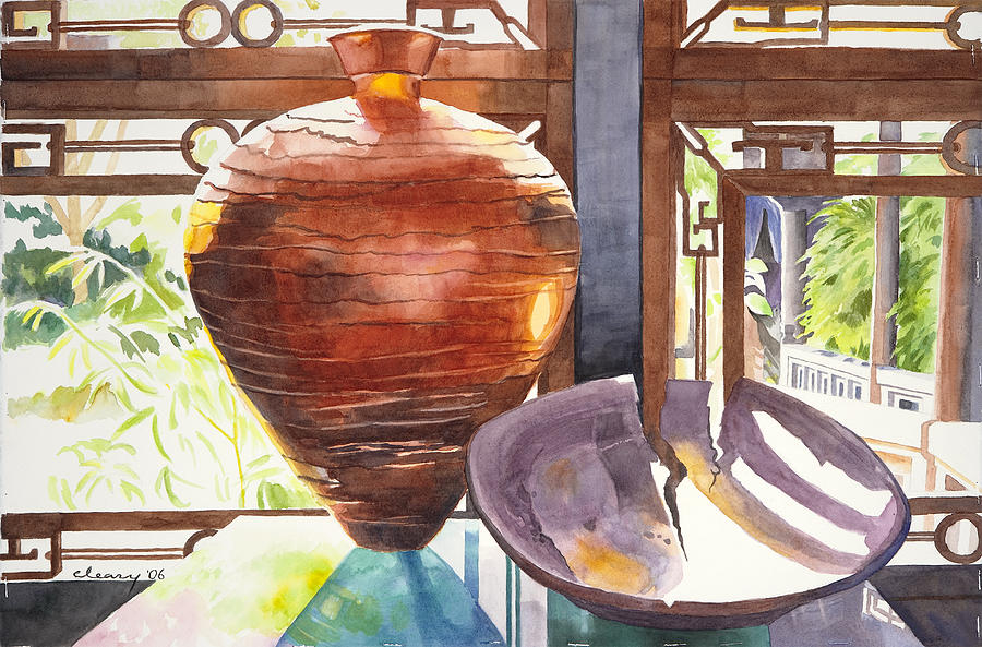 Still Life Painting - Celestial Hall Pottery I by Melody Cleary