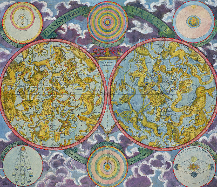 Celestial Drawing - Celestial Map Of The Planets by Georg Christoph Eimmart