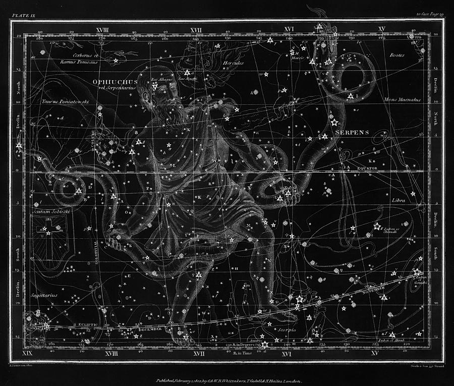 Celestial Map Print From 1822 - Black And White Drawing by ... on