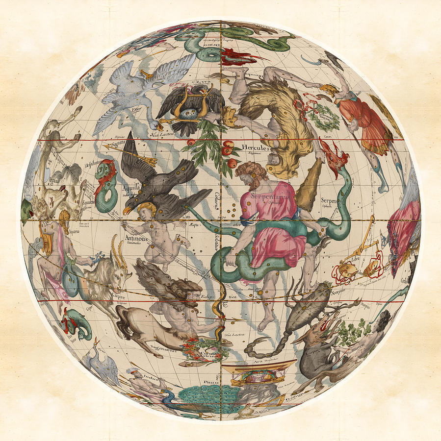 Celestial Map - Sagittarius, Scorpio, Serpentarius, Hercules ... on