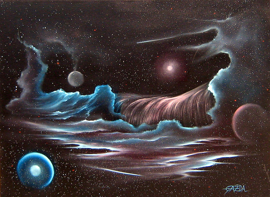 Visionary Painting - Celestial Wave by David Gazda