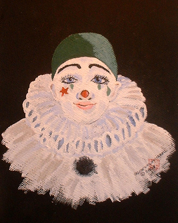Clowns Painting - Celine The Clown by Arlene  Wright-Correll