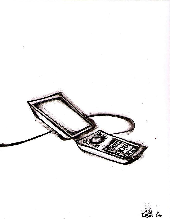 Free Drawing - Cell Phone by Levi Glassrock